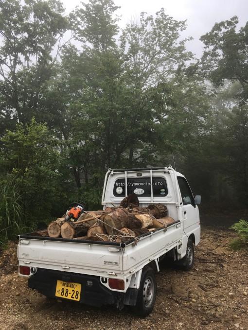 軽トラに玉切りにした原木を積んでる様子